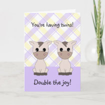 Twin Girls Congratulations Card