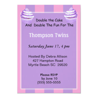 "Twin Girls Cupcake  Birthday Invitation 5"" X 7"" Invitation Card"