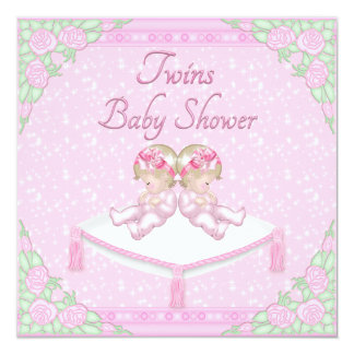 Twin Girls, Cushion and Roses Pink Baby Shower 5.25x5.25 Square Paper Invitation Card