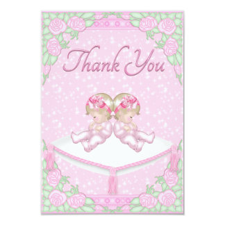 Twin Girls, Cushion and Roses Pink Thank You 3.5x5 Paper Invitation Card