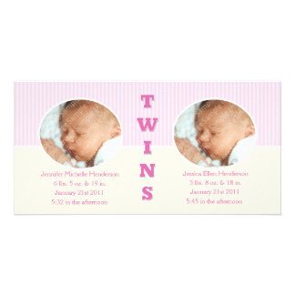 Twin Girls Double New Baby Photo Cards