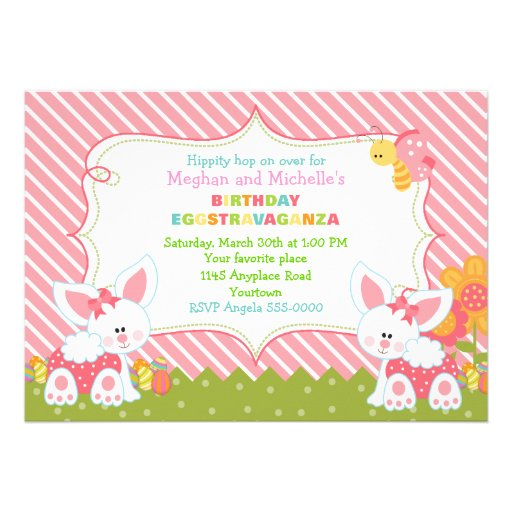 Twin Girls Easter Birthday Invitation