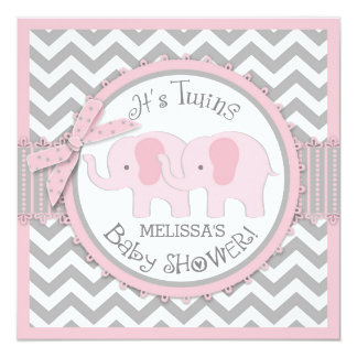 Twin Girls Elephants Chevron Print Baby Shower Card