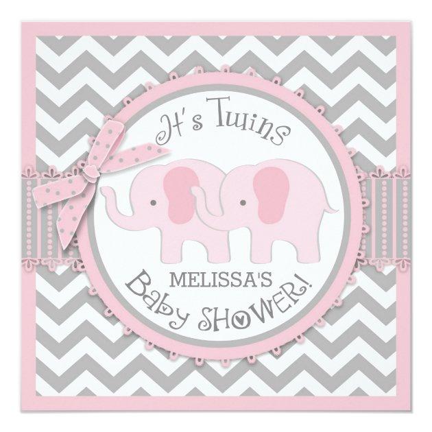 twin girls elephants chevron print baby shower card   zazzle, Baby shower invitations