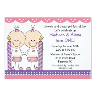 "Twin Girls First Birthday Invitation 5"" X 7"" Invitation Card"