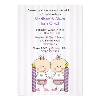 Twin Girls First Birthday Invitation