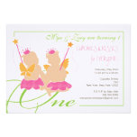 Twin Girls First Birthday Party Invitation
