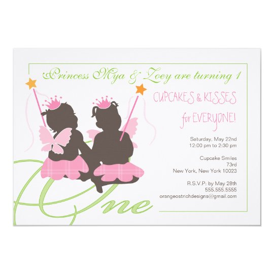 Twin girls first birthday party invitation zazzle twin girls first birthday party invitation filmwisefo