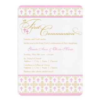 "Twin Girls First Communion Invitation 5"" X 7"" Invitation Card"