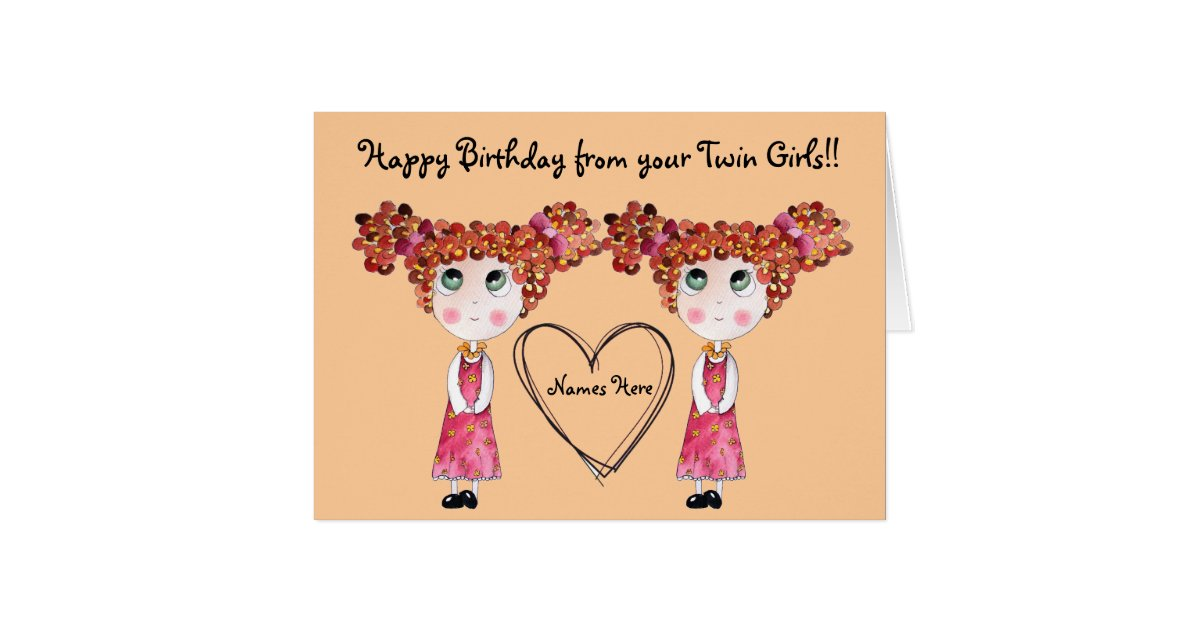 Wedding Gift For Twin Sister : Twin Girls Happy Birthday Customizable Card Zazzle