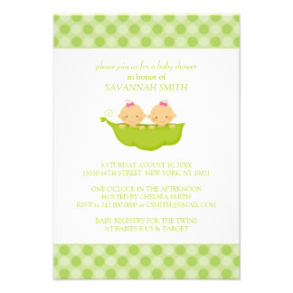 Twin Girls in a Pea Pod Baby Shower Invitations