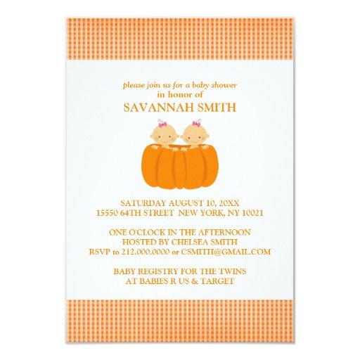 twin girls in a pumpkin baby shower invitations zazzle
