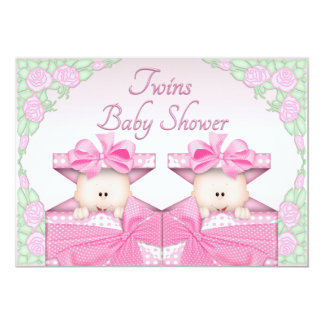 Twin Girls in Gift Box Roses Baby Shower Card