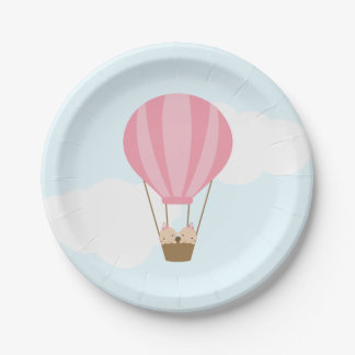 Twin Girls in Hot Air Balloon Baby Shower Paper Plate