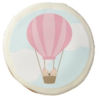 Twin Girls in Hot Air Balloon Baby Shower Sugar Cookie
