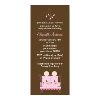Twin Girls in Pink Crib Baby Shower 4x9.25 Paper Invitation Card