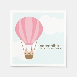 Twin Girls in Pink Hot Air Balloon Baby Shower Paper Napkin