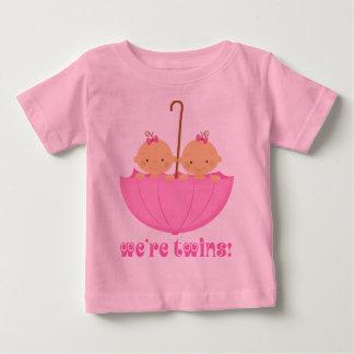 Twin Girls In Umbrella Infant Tee
