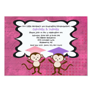 Twin Girls Monkeying Around Graduation Invitation