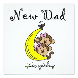 Twin Girls New Dad Gifts 5.25x5.25 Square Paper Invitation Card