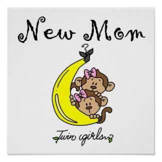 Twin Girls New Mom Gifts Poster