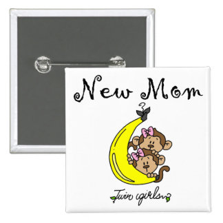 Twin Girls New Mom T-shirts and Gifts 2 Inch Square Button