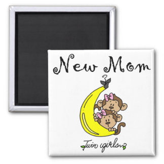 Twin Girls New Mom T-shirts and Gifts 2 Inch Square Magnet