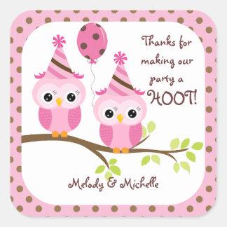 Twin Girls Owl Birthday Thank You Square Sticker