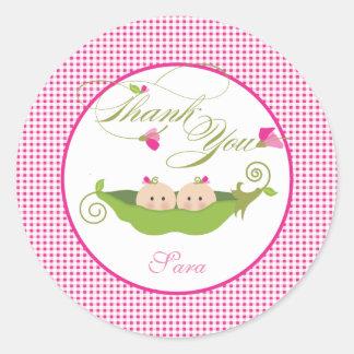 Twin Girls Pea in a Pod Baby Shower Favor Sticker