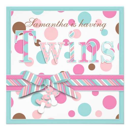 TWIN GIRLS Pink Aqua Brown Dots Baby Shower Custom Announcements
