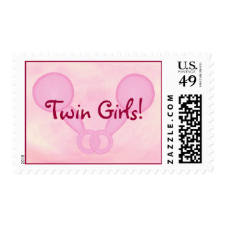 Twin Girls! Pink Baby rattles, postage stamps
