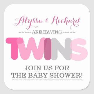 Twin Girls Pink Baby Shower Envelope Seal Stickers