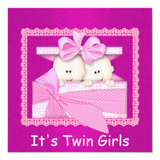 """Twin Girls PINK Baby Shower Invitations 5.25"""" Square Invitation Card"""