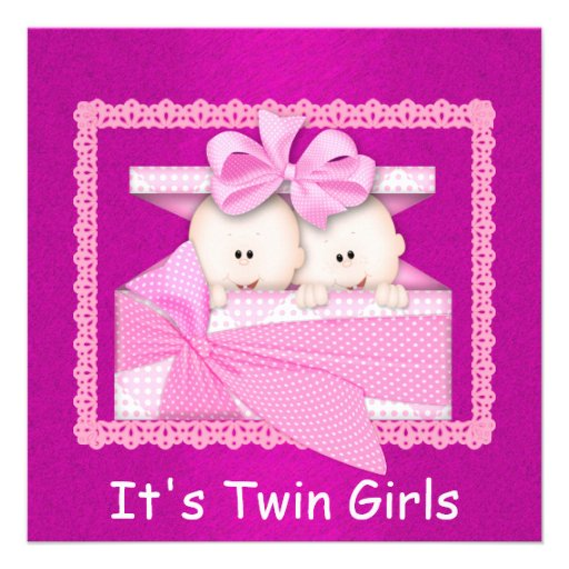 twin girls pink baby shower invitations square invitation card