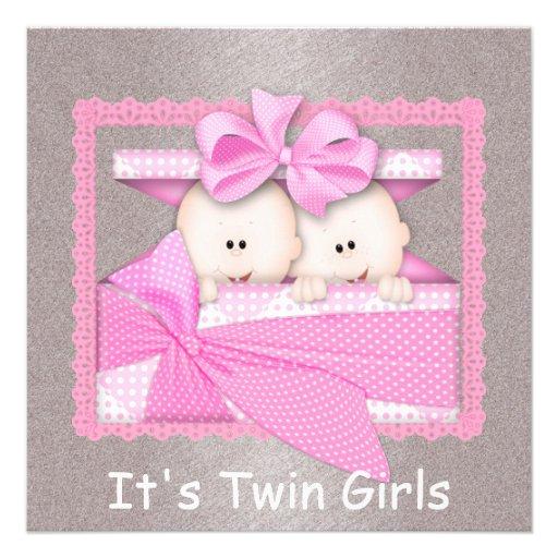 twin girls pink baby shower invitations zazzle