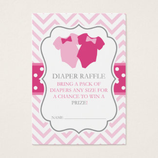 Twin Girls Pink Bodysuit Diaper Raffle Ticket