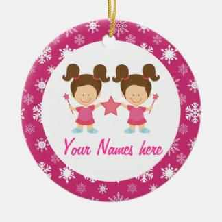 Twin Girls Pink Christmas Keepsake Gift Ceramic Ornament