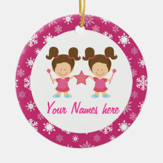 Twin Girls Pink Christmas Keepsake Gift Double-Sided Ceramic Round Christmas Ornament