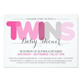 Twin Girls Pink Co-Ed Shower Invitations