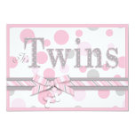 TWIN GIRLS Pink Gray Dots Baby Shower Card