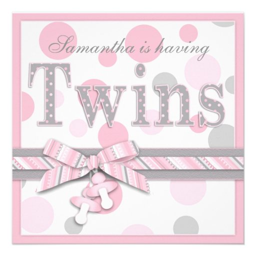 TWIN GIRLS Pink Gray Dots Baby Shower Custom Announcements