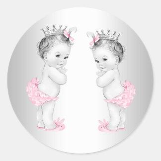 Twin Girls Pink Princess Baby Shower Stickers