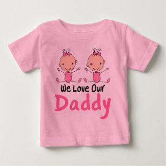 Twin Girls Pink Stick Figure Babies Baby T-Shirt