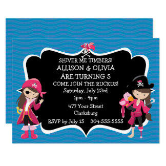 girl pirate party invitations announcements zazzle. Black Bedroom Furniture Sets. Home Design Ideas