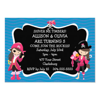 Twin Girls Pirate Birthday Party Card