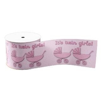 twin girls polka dots baby stroller - ribbon