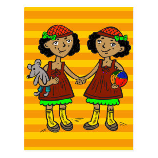 Twin Girls Postcard