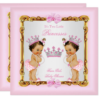 Twin Girls Princess Baby Shower Gold Pink Brunette Card