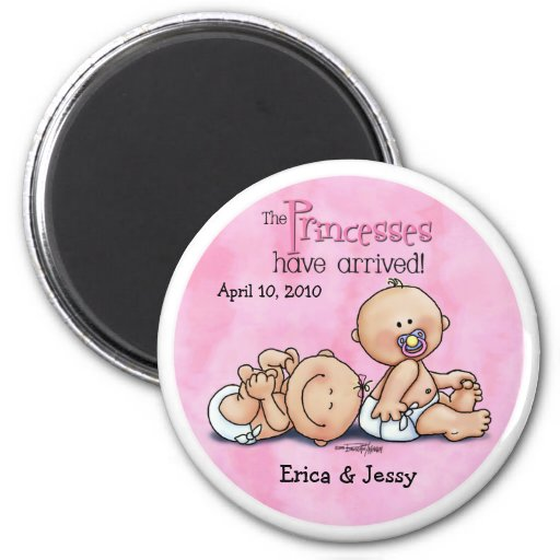 Twin Girls - Princesses Refrigerator Magnets
