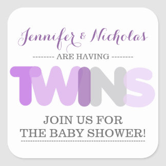 Twin Girls Purple Baby Shower Envelope Stickers